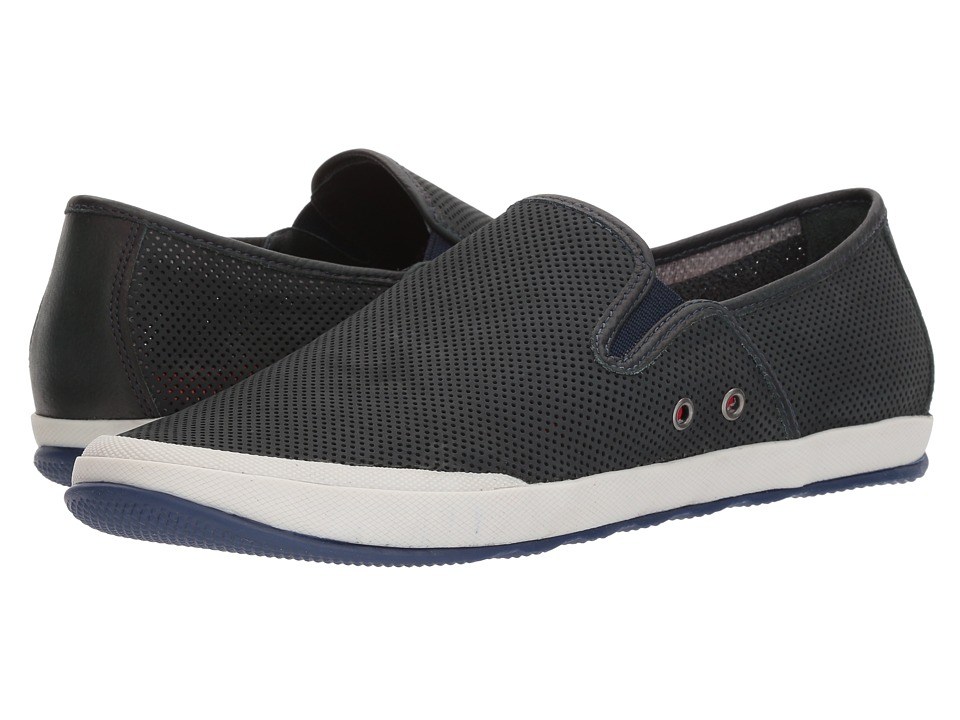 Johnston & Murphy - Mullen Slip-On (Navy Perfed Nubuck) Mens Slip on  Shoes