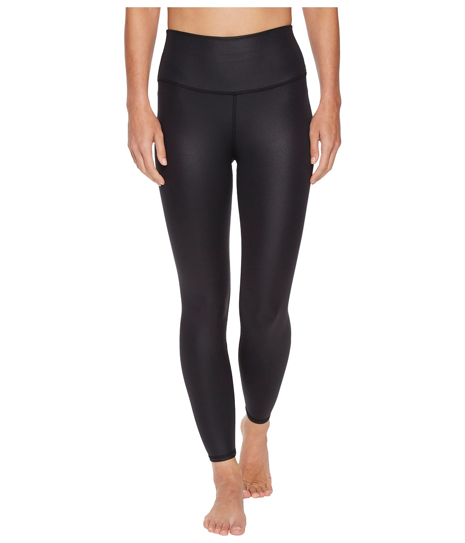 Image of ALO - 7/8 High Waist Airbrush Leggings (Black Glossy) Women's Casual Pants