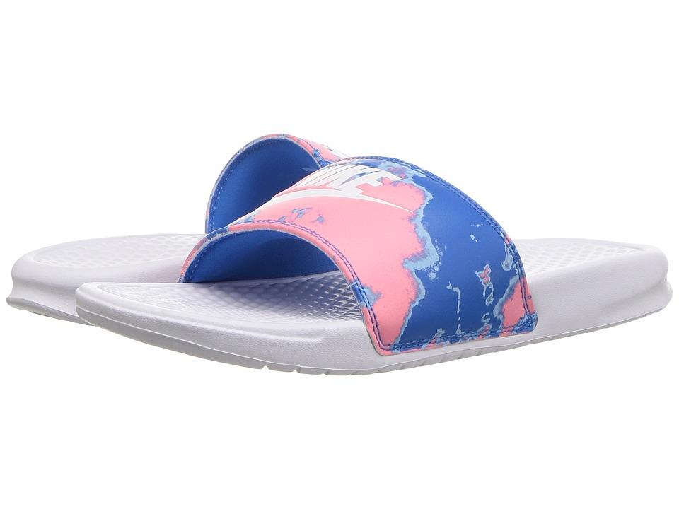 Nike - Benassi JDI (White/White/Coral/Blue Nebula) Womens Classic Shoes