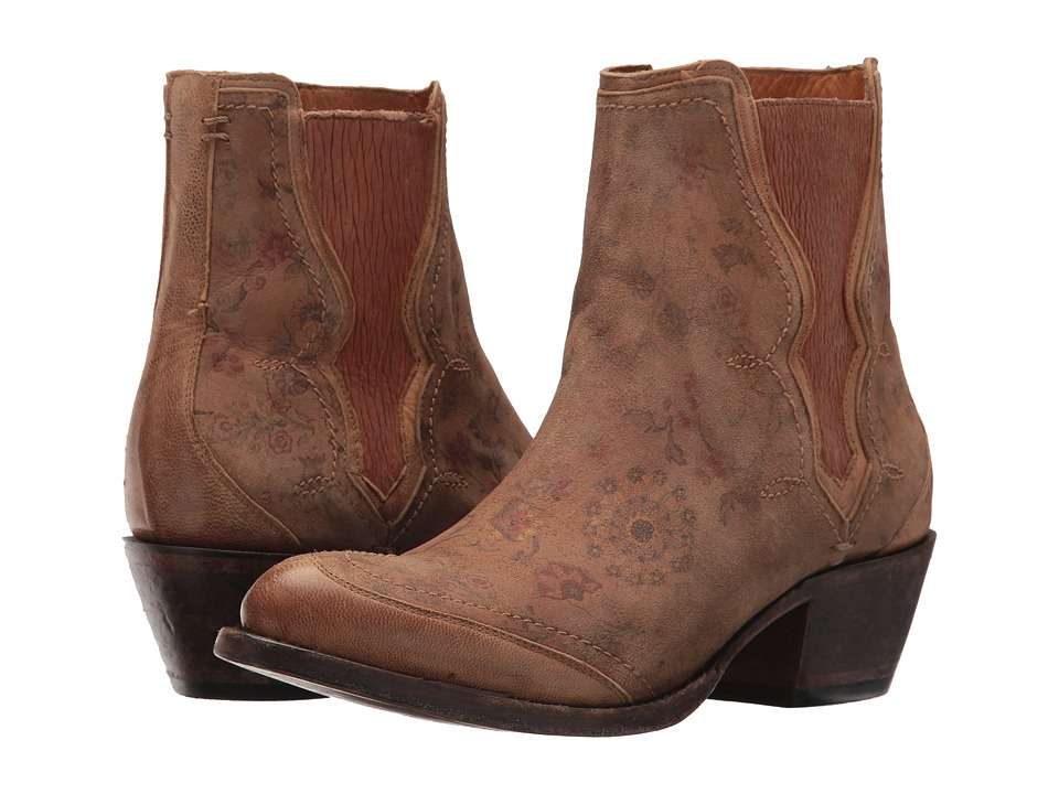 Lucchese Gia (Natural Brown Floral Print) Cowboy Boots