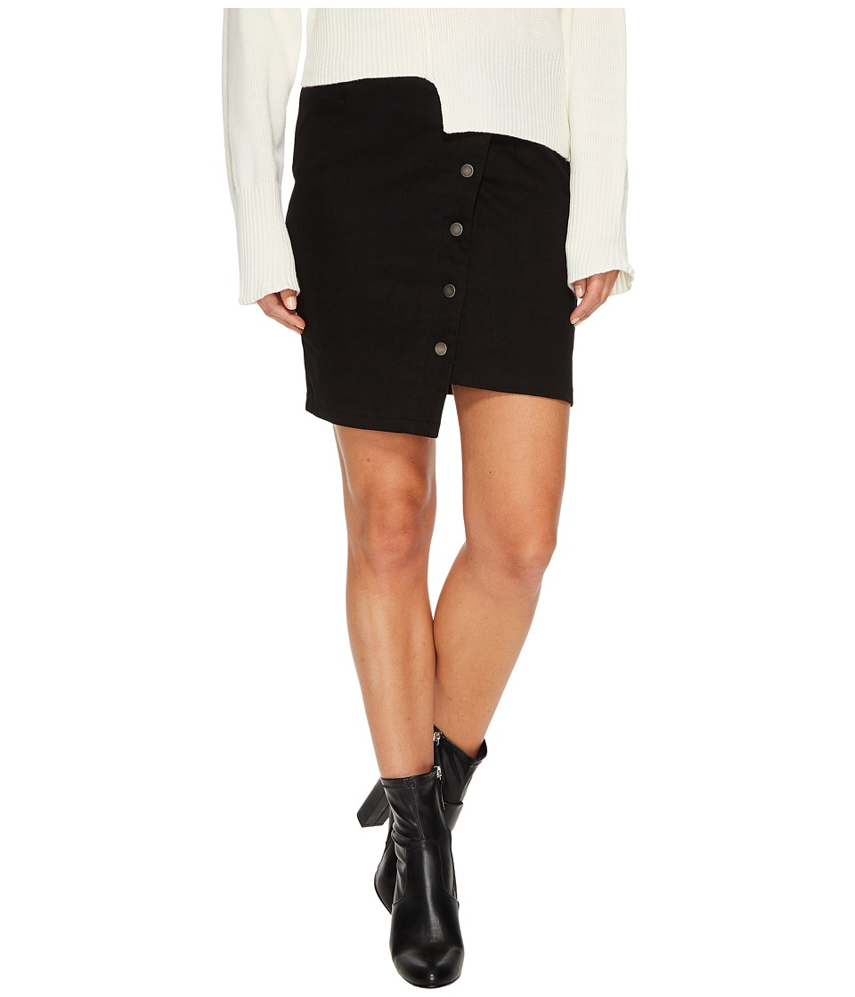 J.O.A. Button Up Asymmetric Hem Skirt (Black) Women