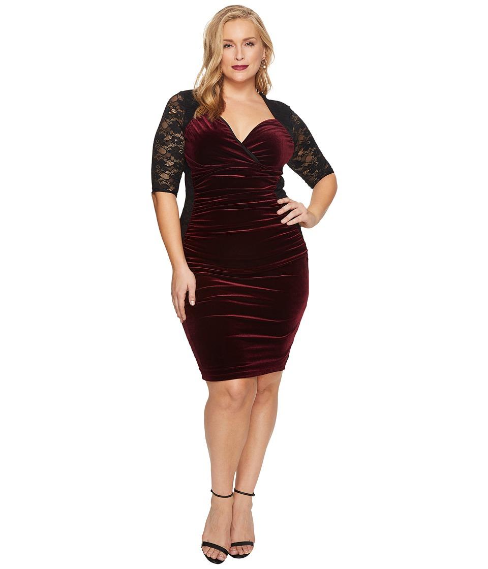 Kiyonna Hourglass Lace Dress (Wine) Women