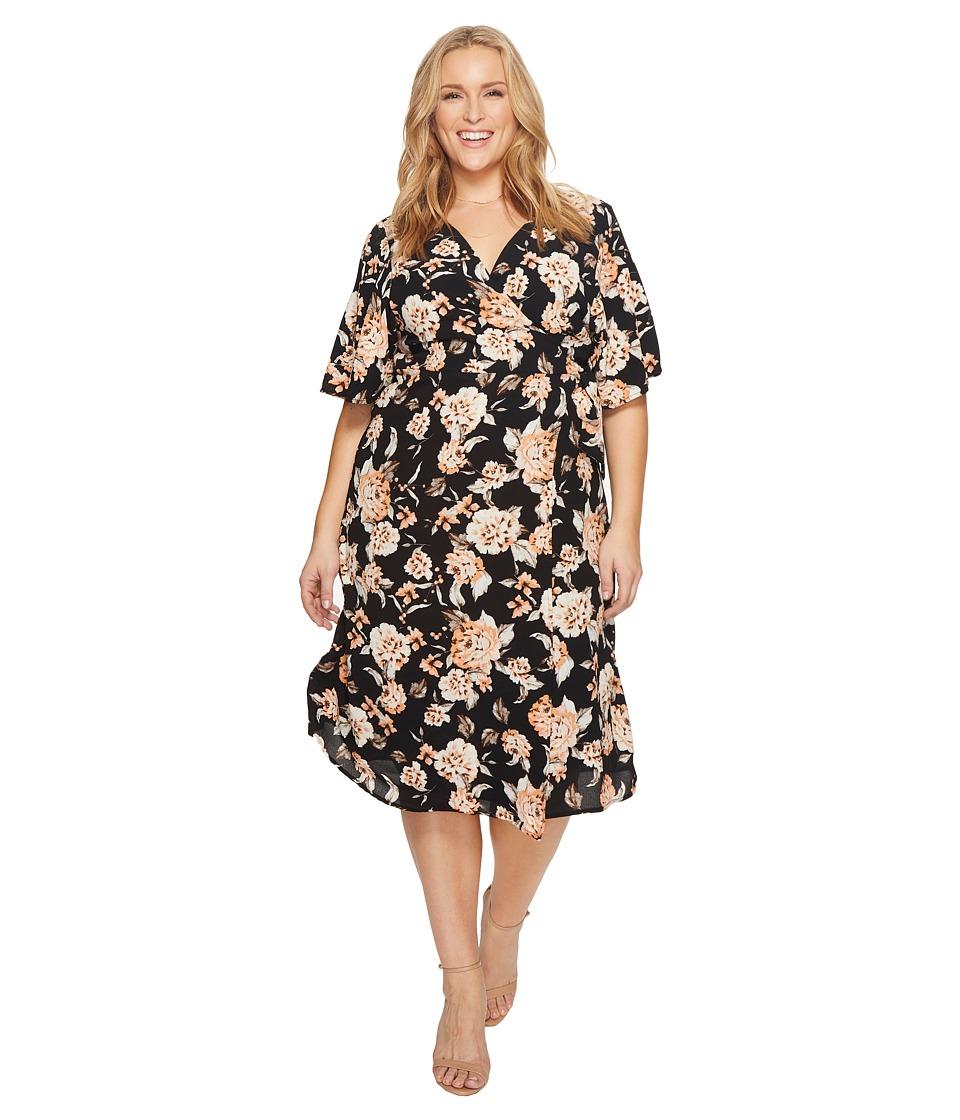 Kiyonna Cecile Chiffon Wrap Dress (Midnight Carnation) Women