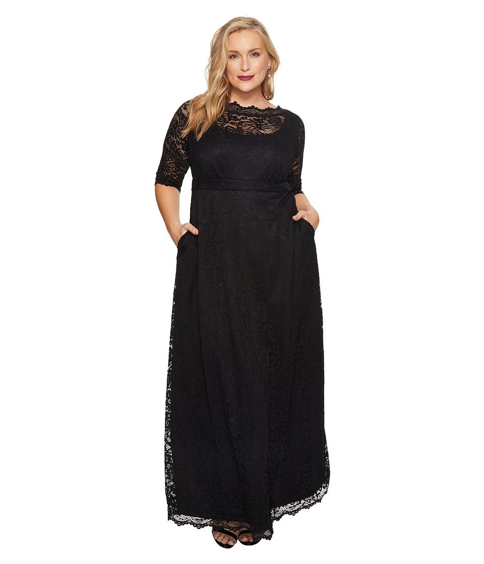 Kiyonna - Leona Lace Gown (Onyx) Women's Dress