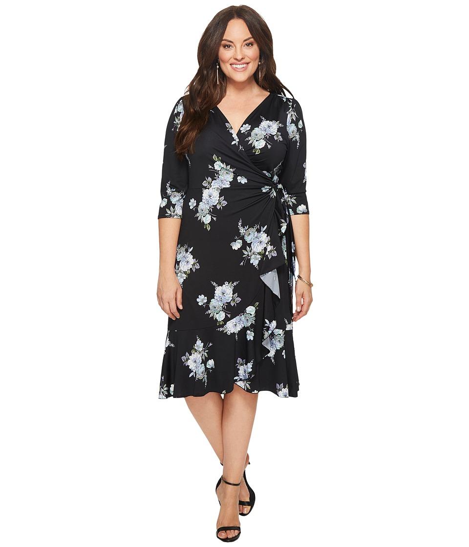 Kiyonna Flirty Flounce Wrap Dress (Midnight Dahlia) Women