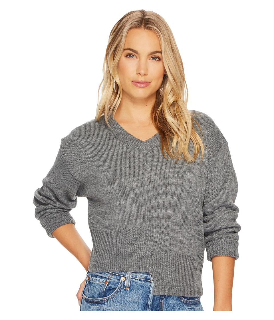J.O.A. - Asymmetric Knit Top (Grey) Womens Long Sleeve Pullover