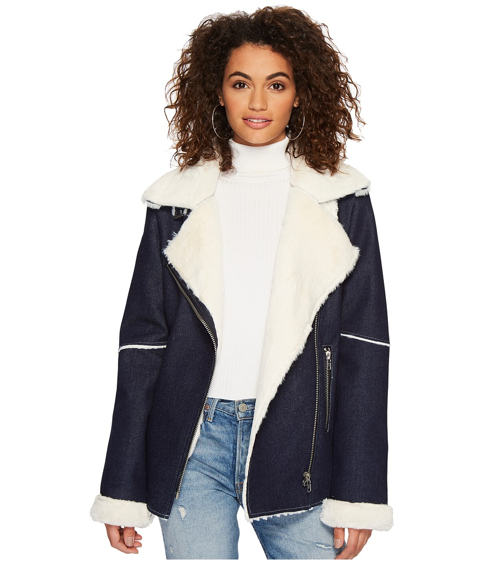 J.O.A. - Denim Shearling Jacket (Denim Blue) Womens Coat