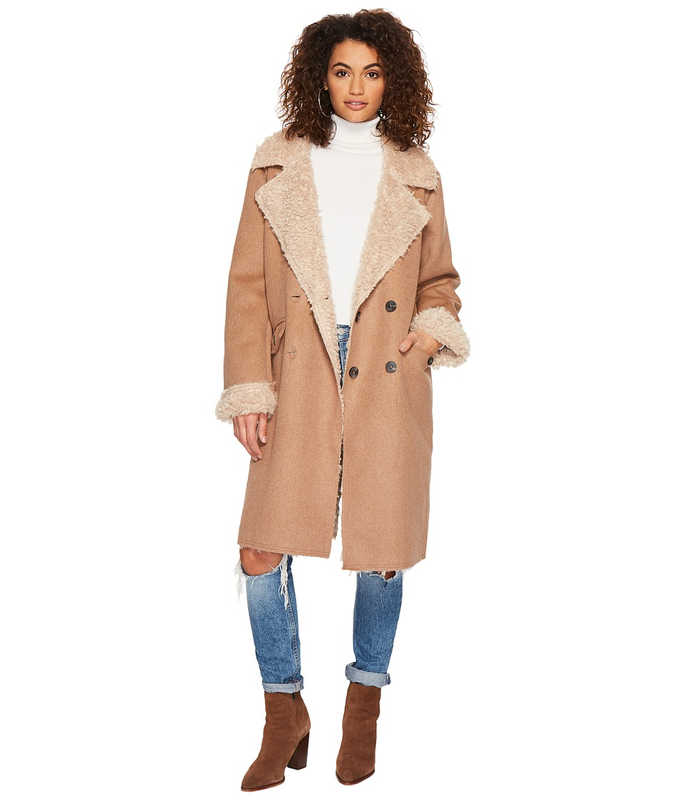 J.O.A. - Full Shearling Coat (Camel) Womens Coat