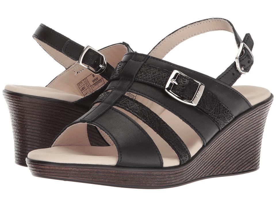 SAS Layla (Black/Web) Women's Wedge Shoes