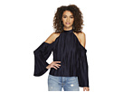 J.O.A. Cold Shoulder Pleated Top