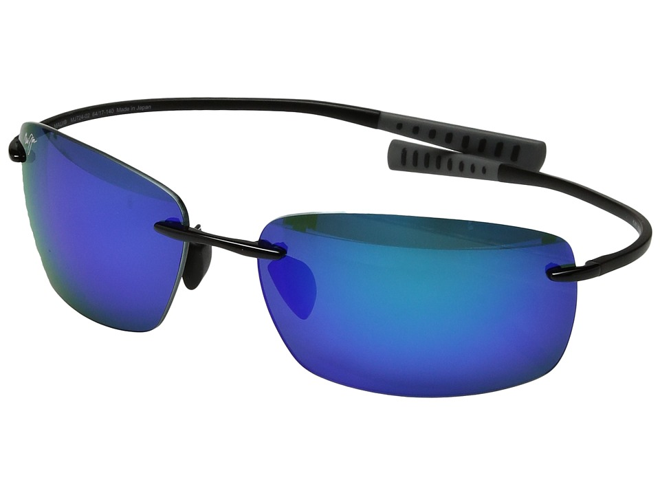 Maui Jim - Kumu (Gloss Black/Blue Hawaii) Polarized Fashion Sunglasses