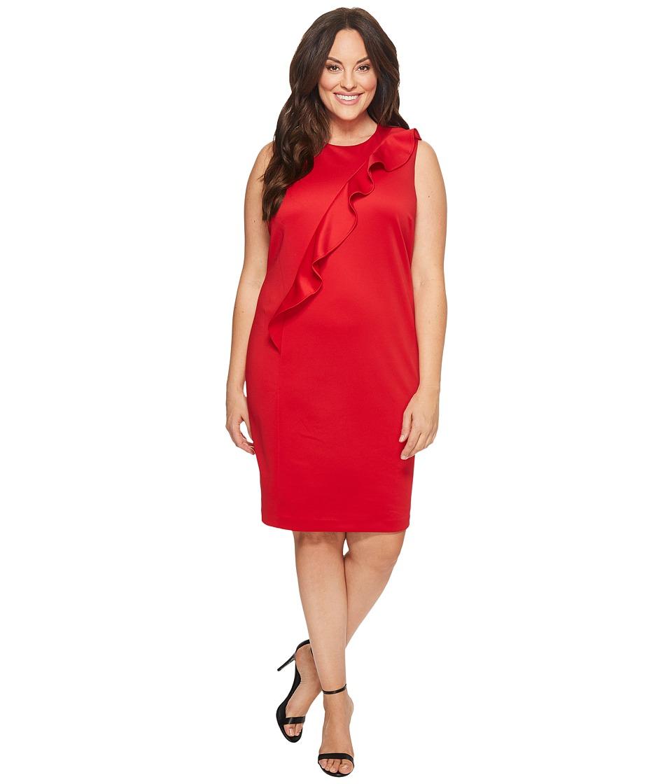 Calvin Klein Plus - Plus Size Sleeveless Dress w/ Asymmetrical Ruffle