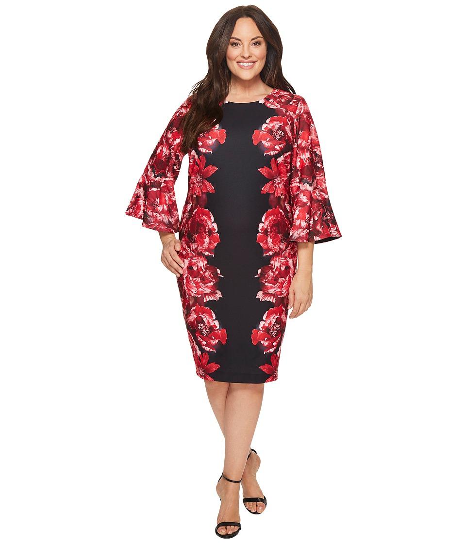 Calvin Klein Plus - Plus Size Print Scuba Crepe Sleeve Dress