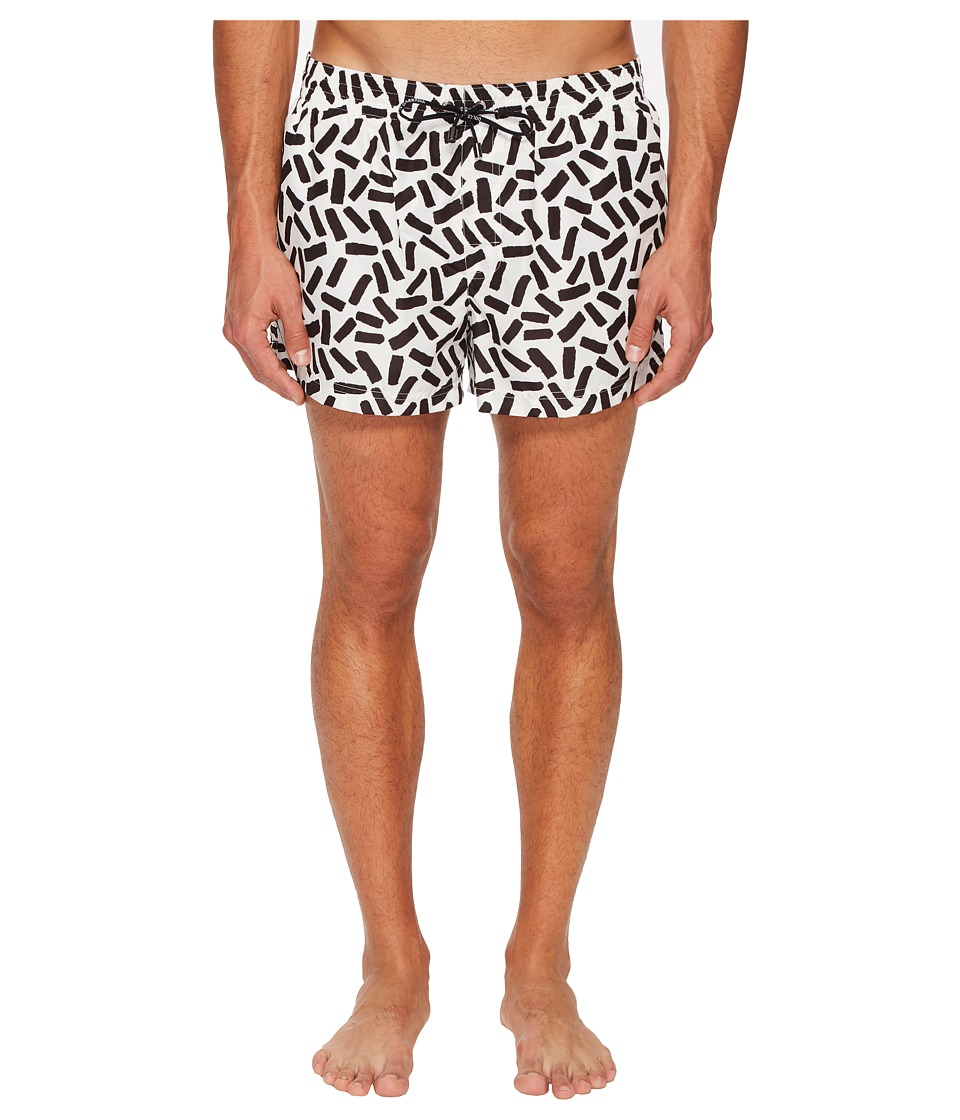 Dolce & Gabbana Abstract Short Boxer Swimsuit w/ Bag (White Abstract Print) Men
