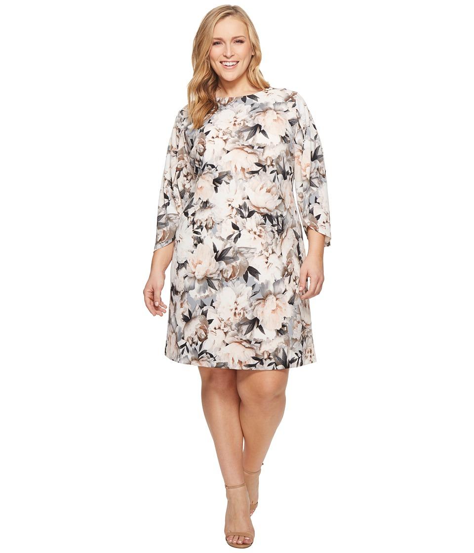 Calvin Klein Plus - Plus Size Print Slit Flare Sleeve Dress (Tin/Black) Womens Dress