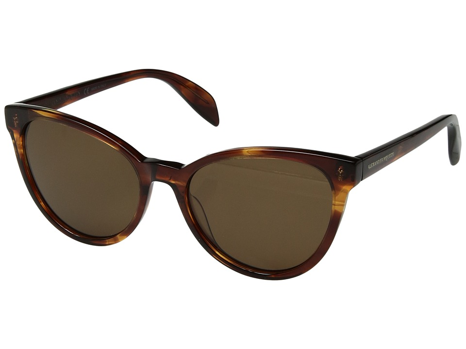 Alexander McQueen - AM0111S (Havana/Brown) Fashion Sunglasses
