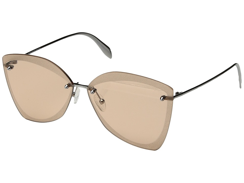 Alexander McQueen - AM0119SA (Ruthenium/Pink) Fashion Sunglasses