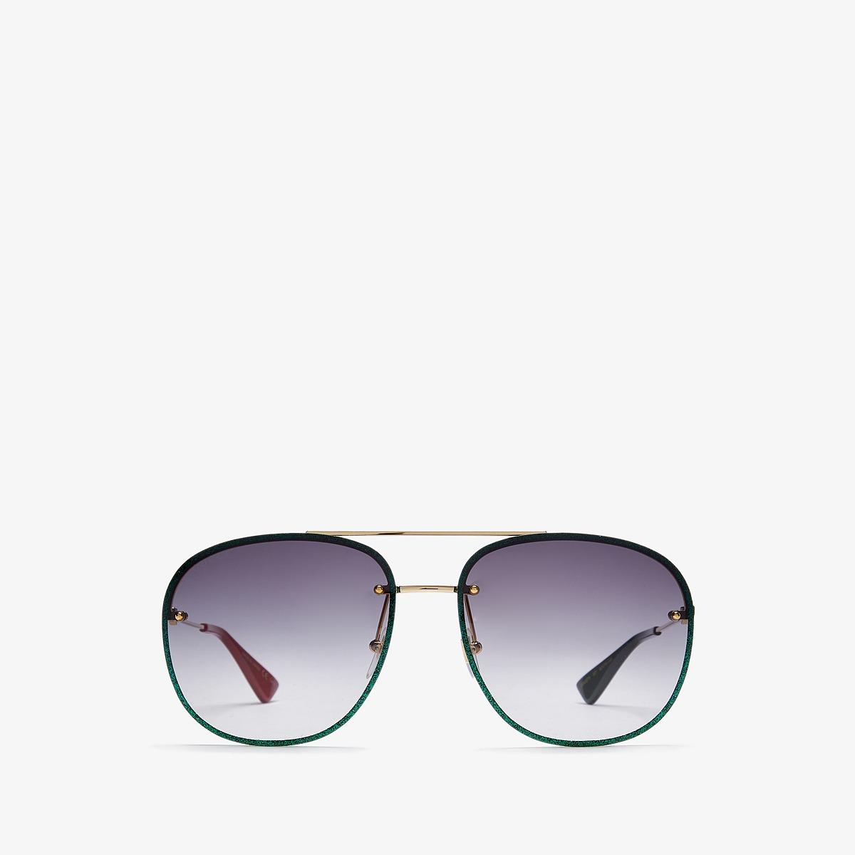 Gucci GG0227S (Gold/Grey) Fashion Sunglasses