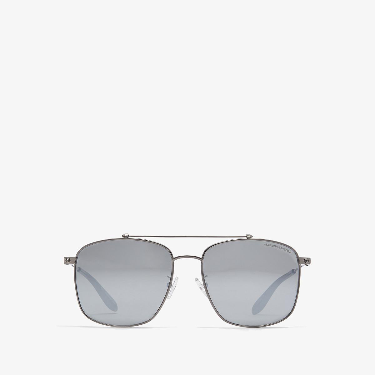 Alexander McQueen - AM0124SK (Dark Ruthenium/Silver) Fashion Sunglasses