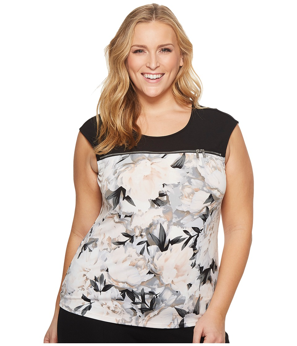 Calvin Klein Plus - Plus Size Sleeveless Top w/ Horizontal Zips (Tin/Black) Womens Sleeveless