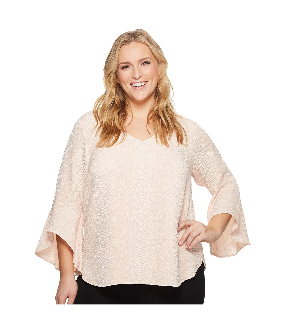 Calvin Klein Plus - Plus Size Flare Sleeve V-Neck Blouse (Blush) Womens Blouse