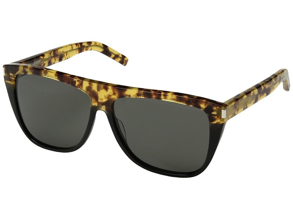Saint Laurent - SL 1 (Green Havana/Grey) Fashion Sunglasses