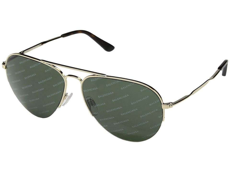 Balenciaga - BA0125 (Pale Gold/Green Logomania Lens) Fashion Sunglasses