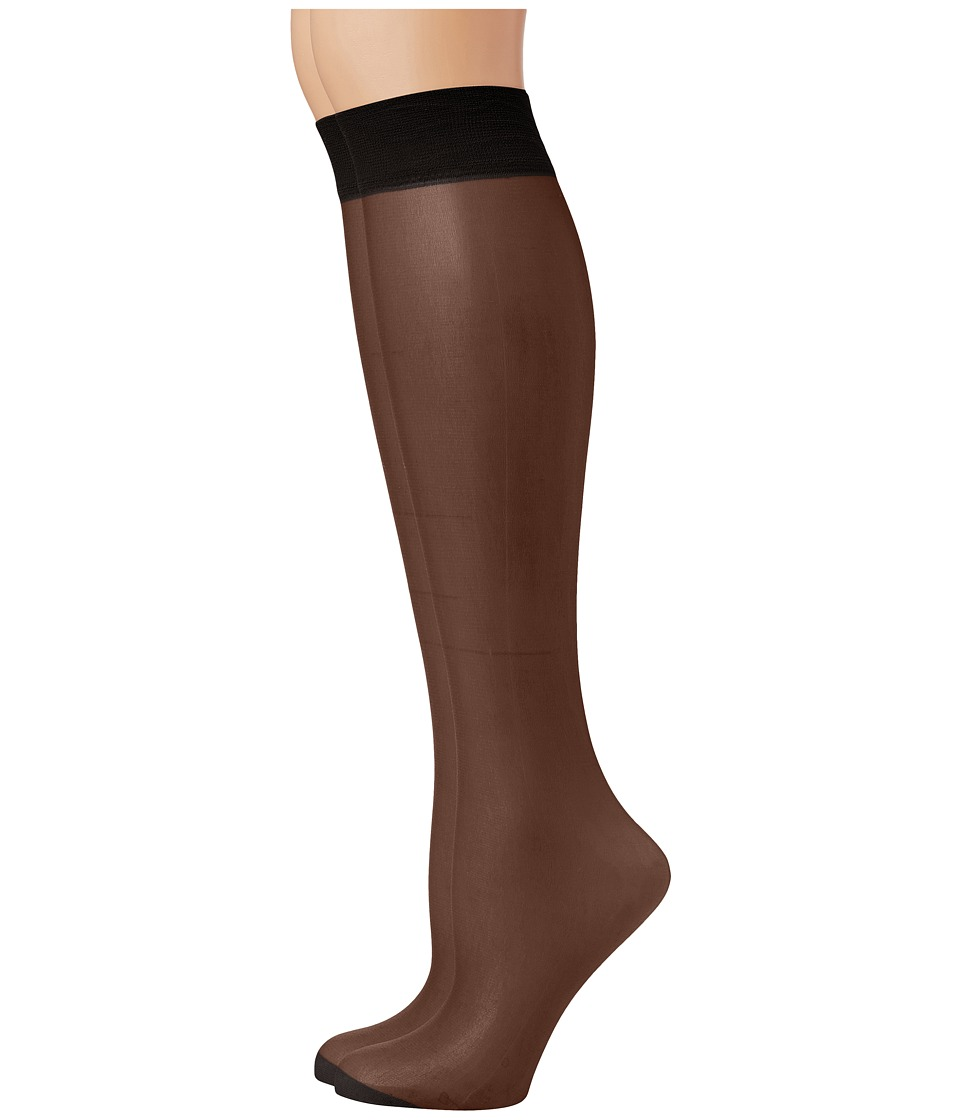 Pretty Polly - Comfort Top Knee Highs 2PP (Black) Knee high Hose