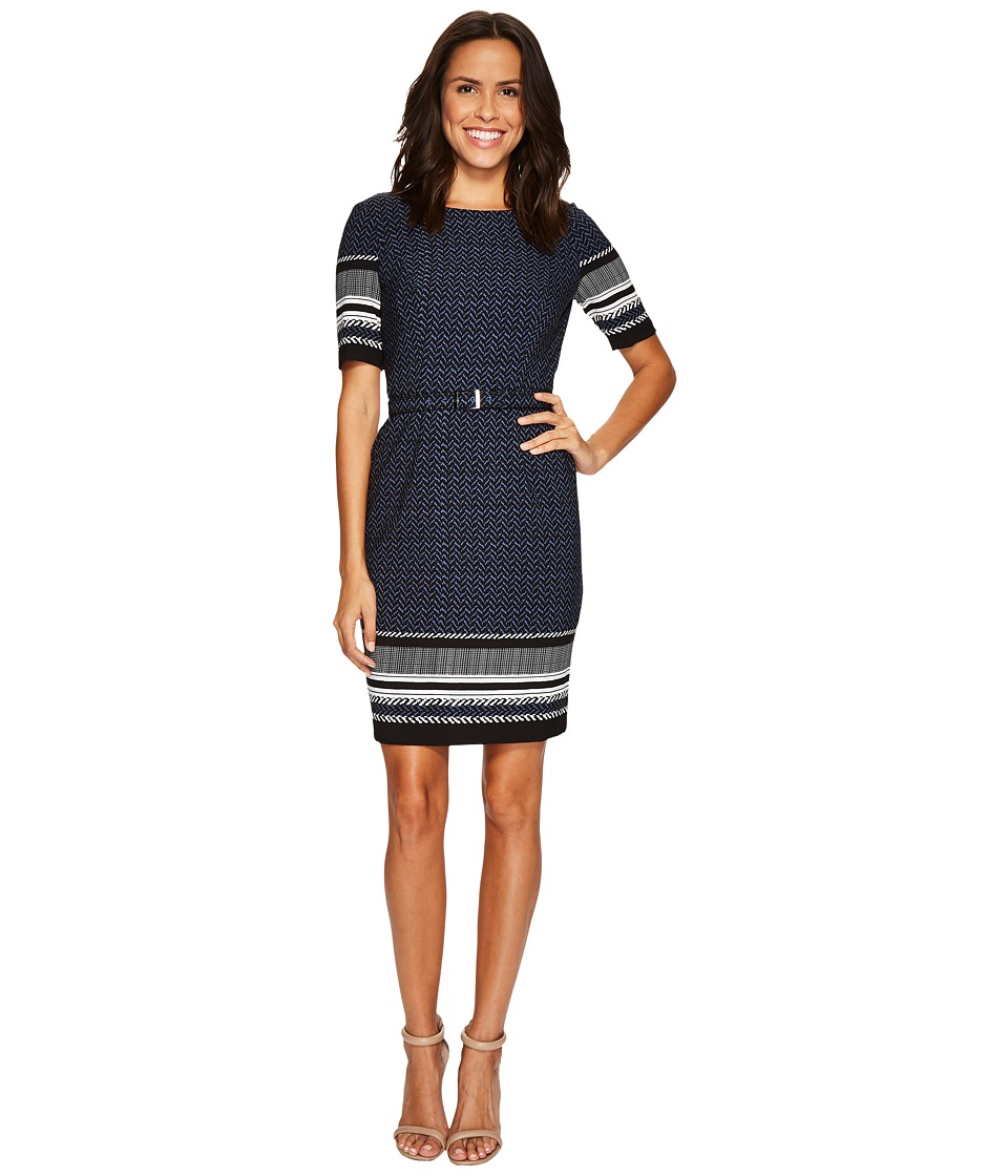 Adrianna Papell - Mixed Herringbone Sheath Dress