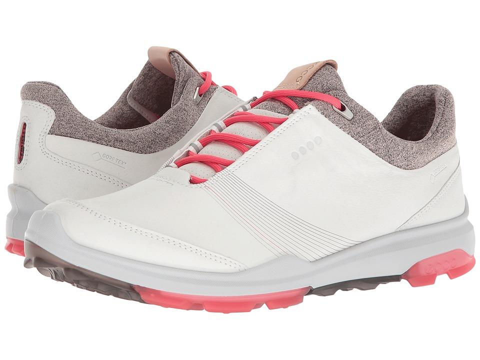 ECCO Golf Biom Hybrid 3 GTX (White/Teaberry) Women's Golf Shoes