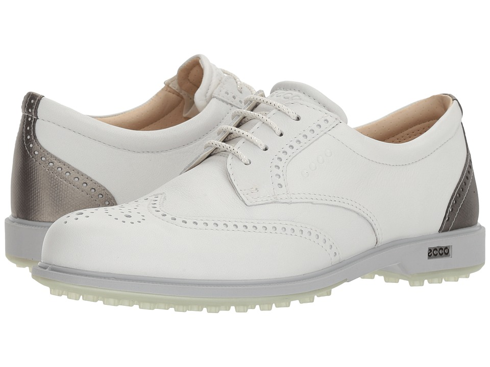 ECCO Golf - Classic Golf Hybrid (White/Silver Metallic) Womens Golf Shoes