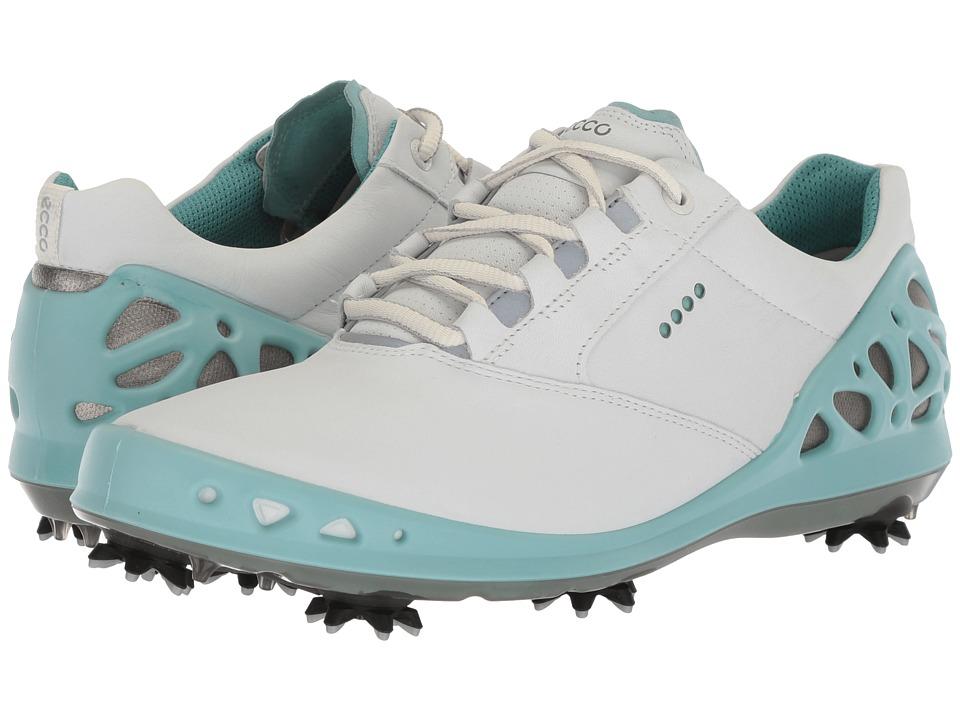 ECCO Golf Cage GTX (White/Aquatic) Women's Golf Shoes