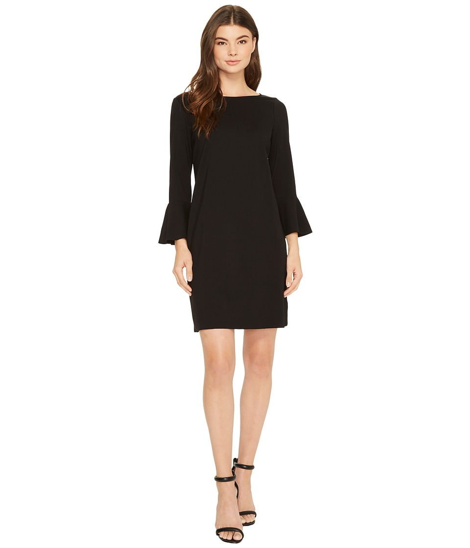 Three Dots Shift Dress with Flounce (Black) Women