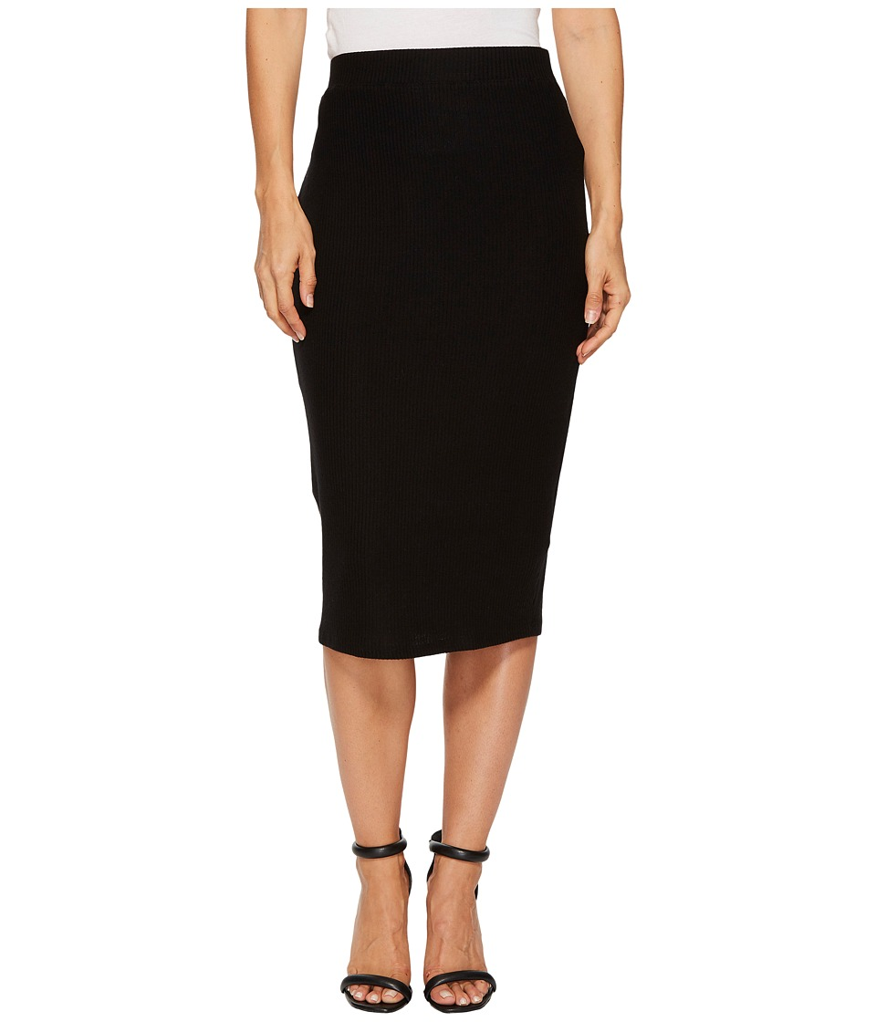 Three Dots Brushed Sweater Midi Skirt (Black) Women