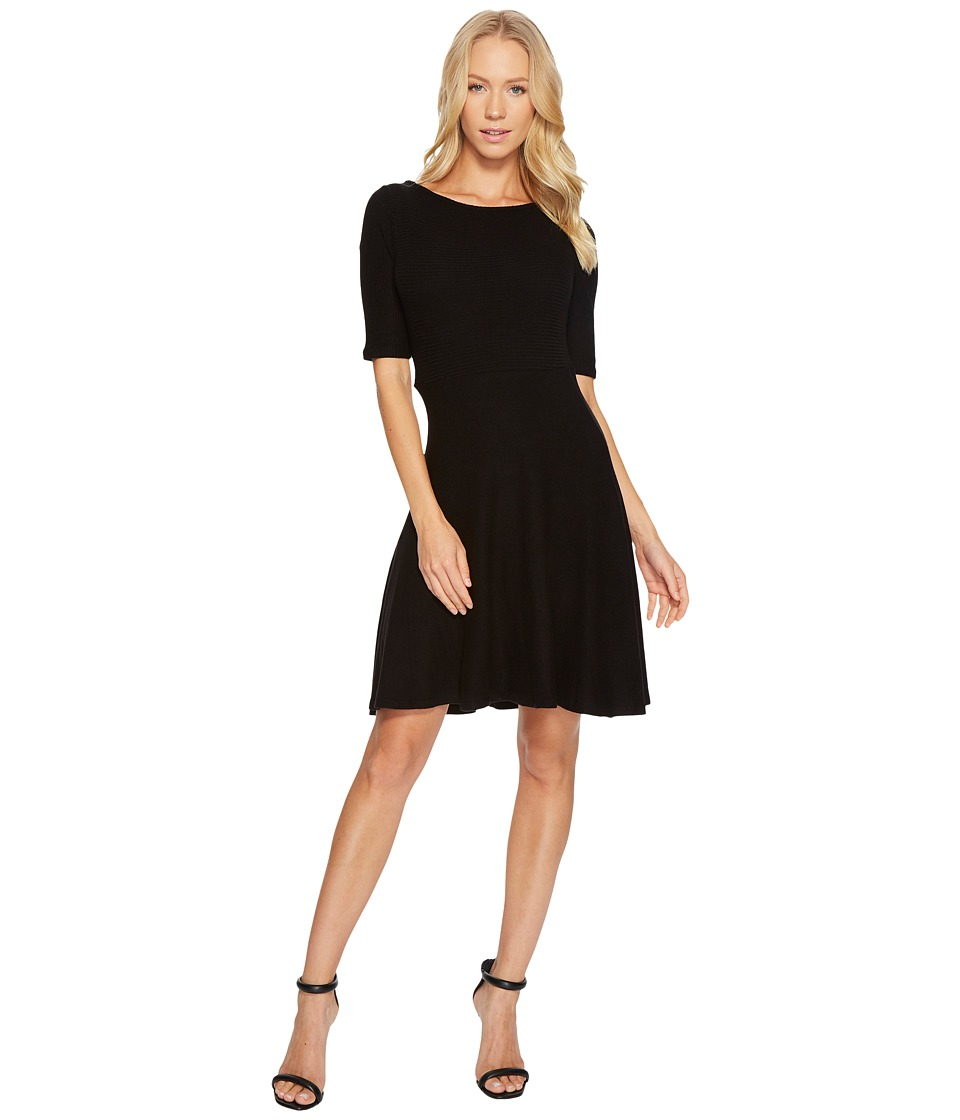 Three Dots Brushed Sweater Fit Flare Dress (Black) Women
