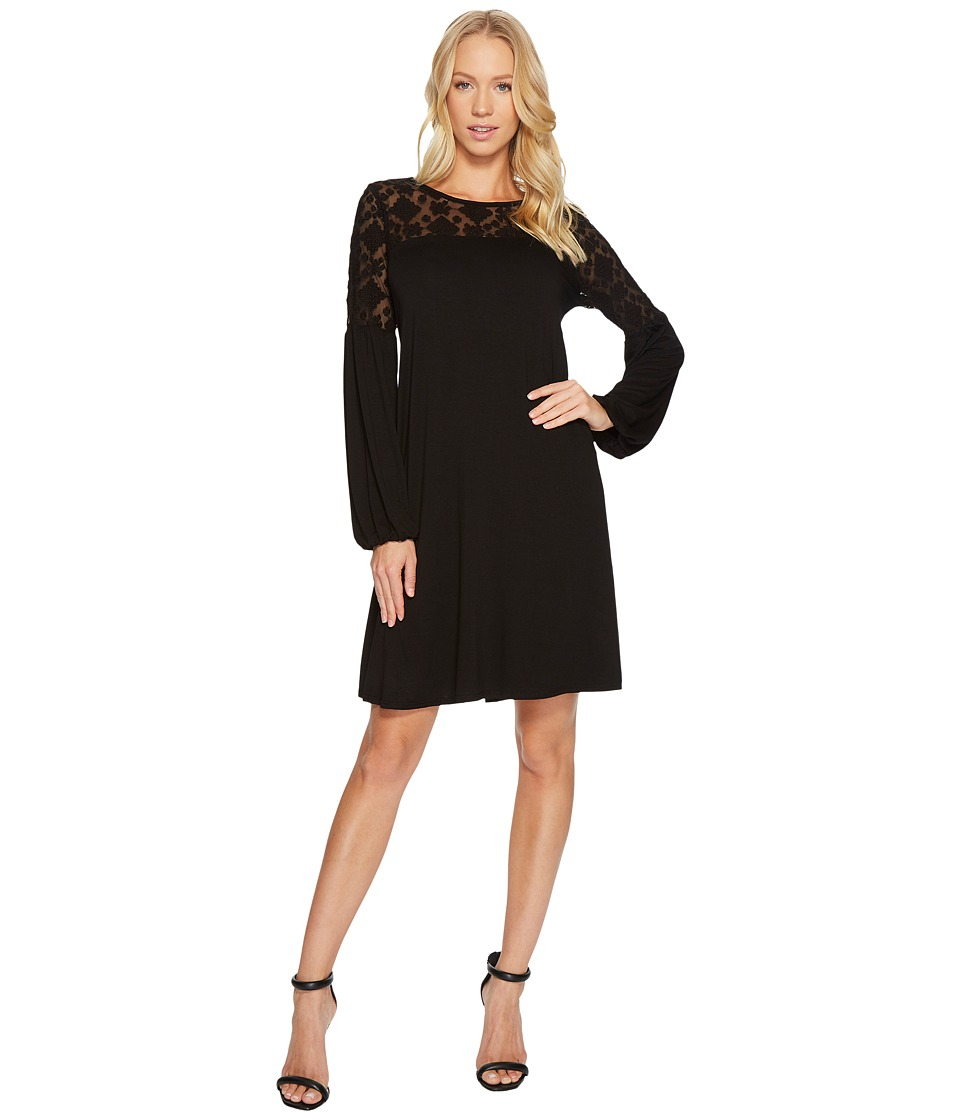 Three Dots Refined Jersey Embroidered Tulle Dress (Black) Women