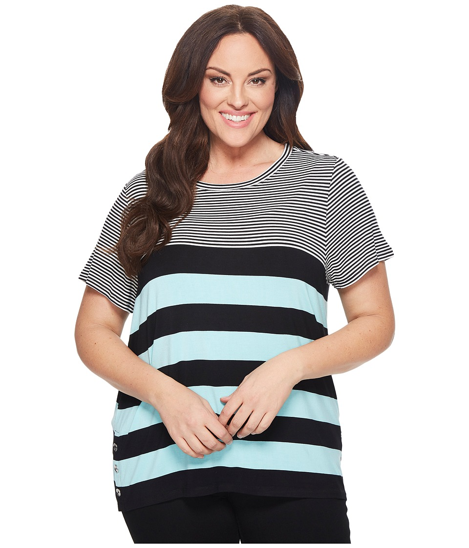 Calvin Klein Plus - Plus Size Short Sleeve Stripe Tee with Buttons (Seaglass/Black) Womens Sleeveless