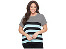 Calvin Klein Plus Plus Size Short Sleeve Stripe Tee with Buttons