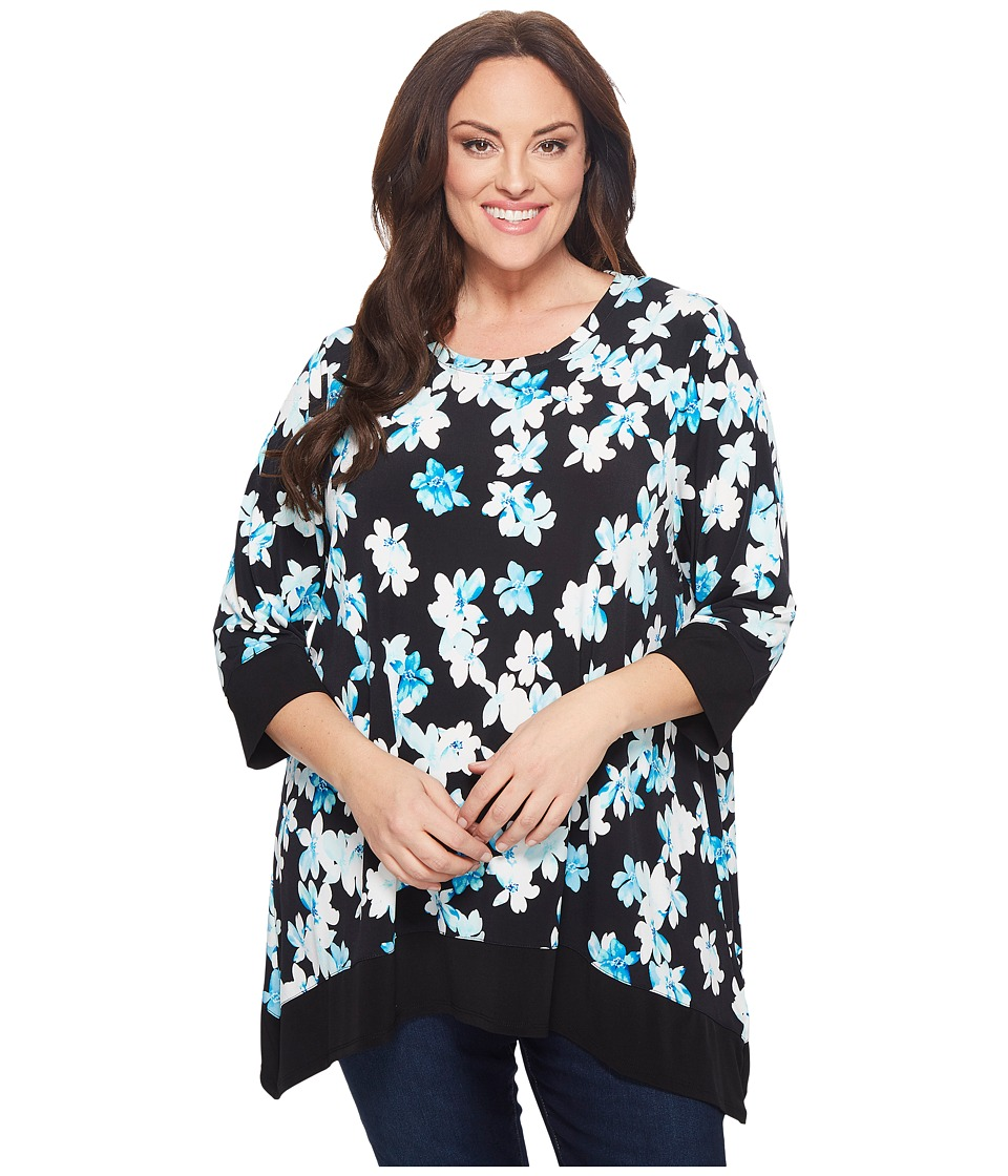 Calvin Klein Plus - Plus Size Three-Quarter Sleeve Printed Sharkbite Top (Black/Seaglass) Womens Long Sleeve Pullover