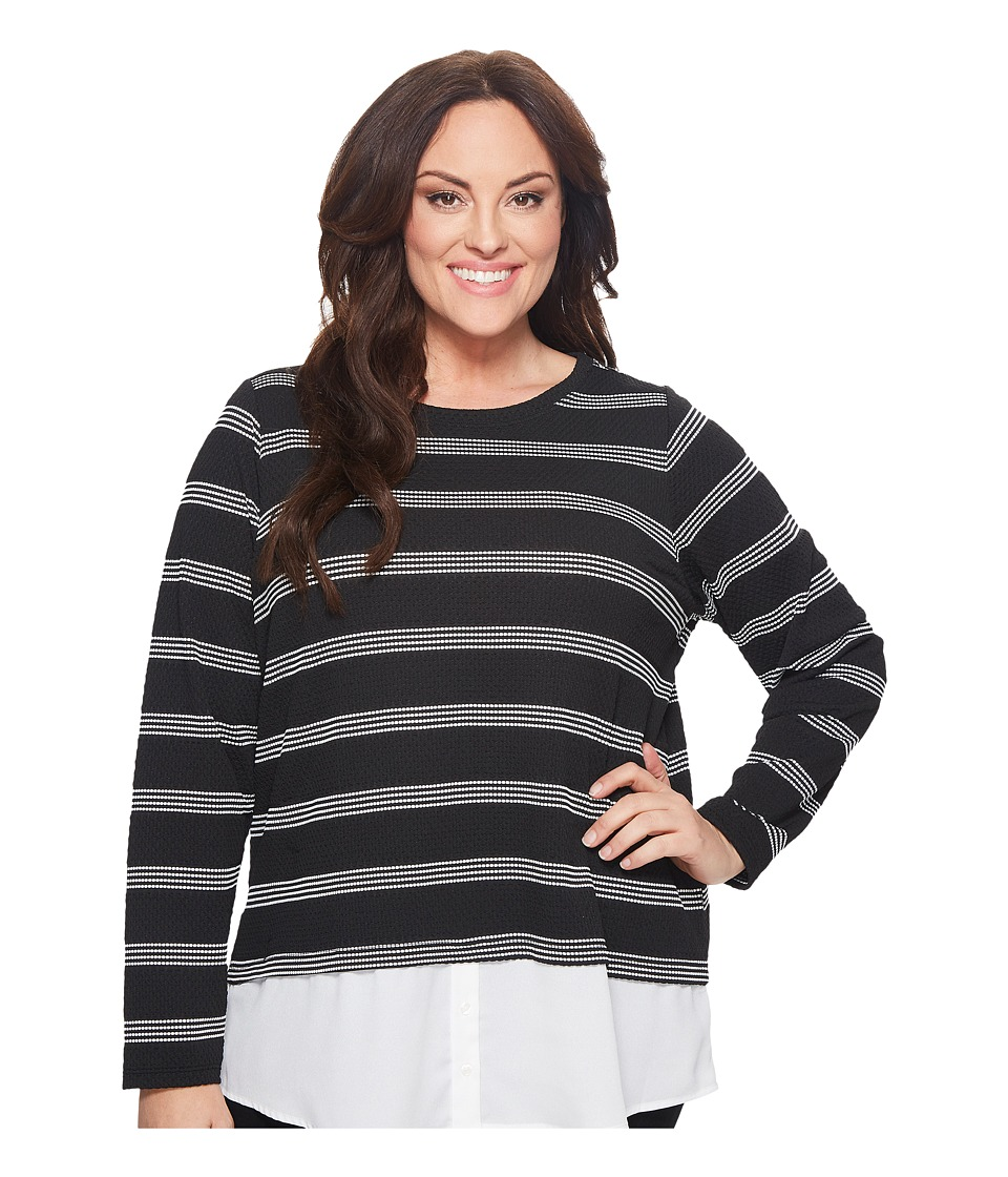 Calvin Klein Plus - Plus Size Textured Stripe Twofer (Black/White Perforated) Womens Long Sleeve Pullover