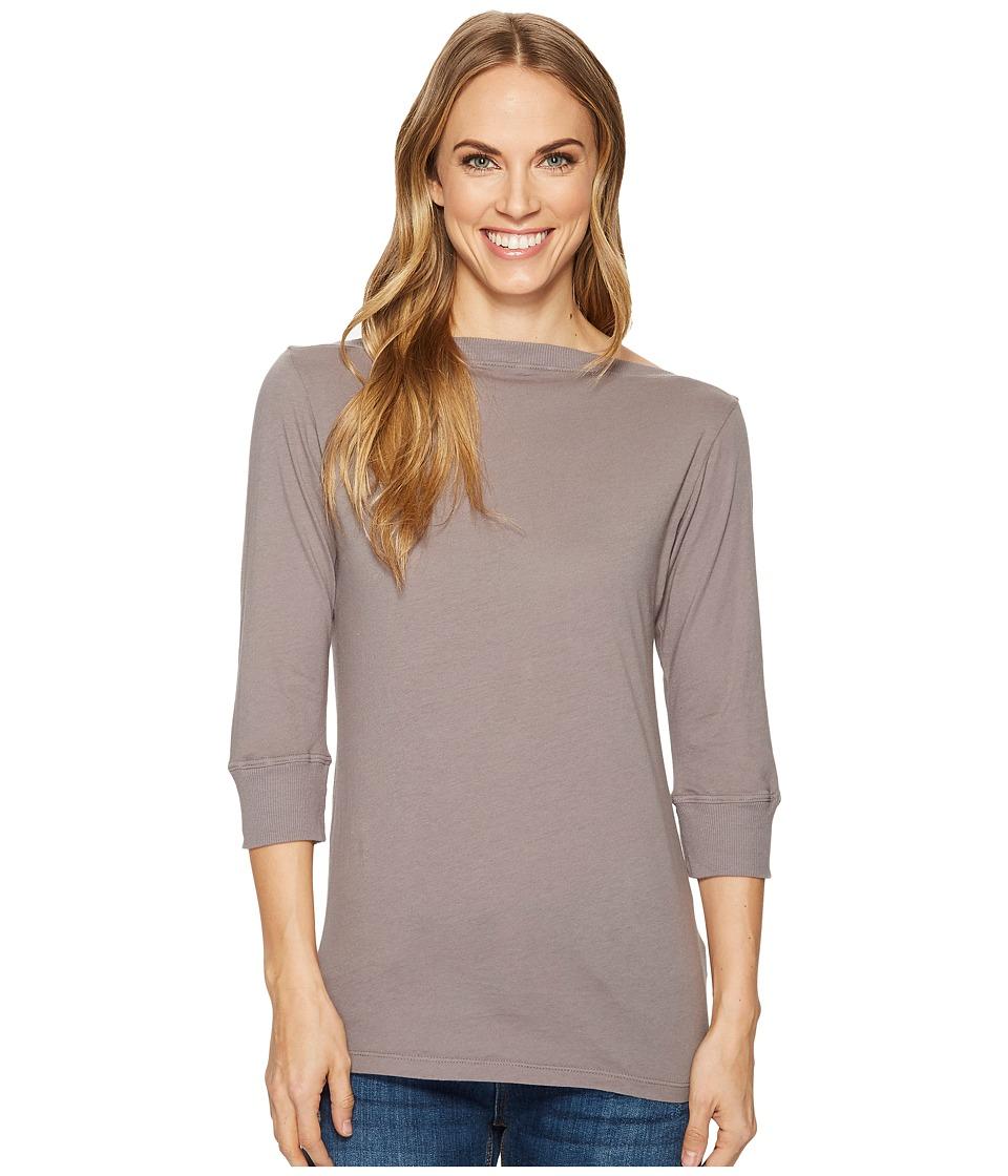 Image of Allen Allen - 3/4 Sleeve Boat Neck (Medium Grey) Women's Clothing