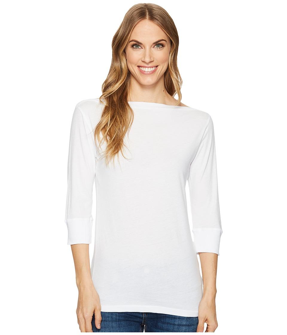 Image of Allen Allen - 3/4 Sleeve Boat Neck (White) Women's Clothing