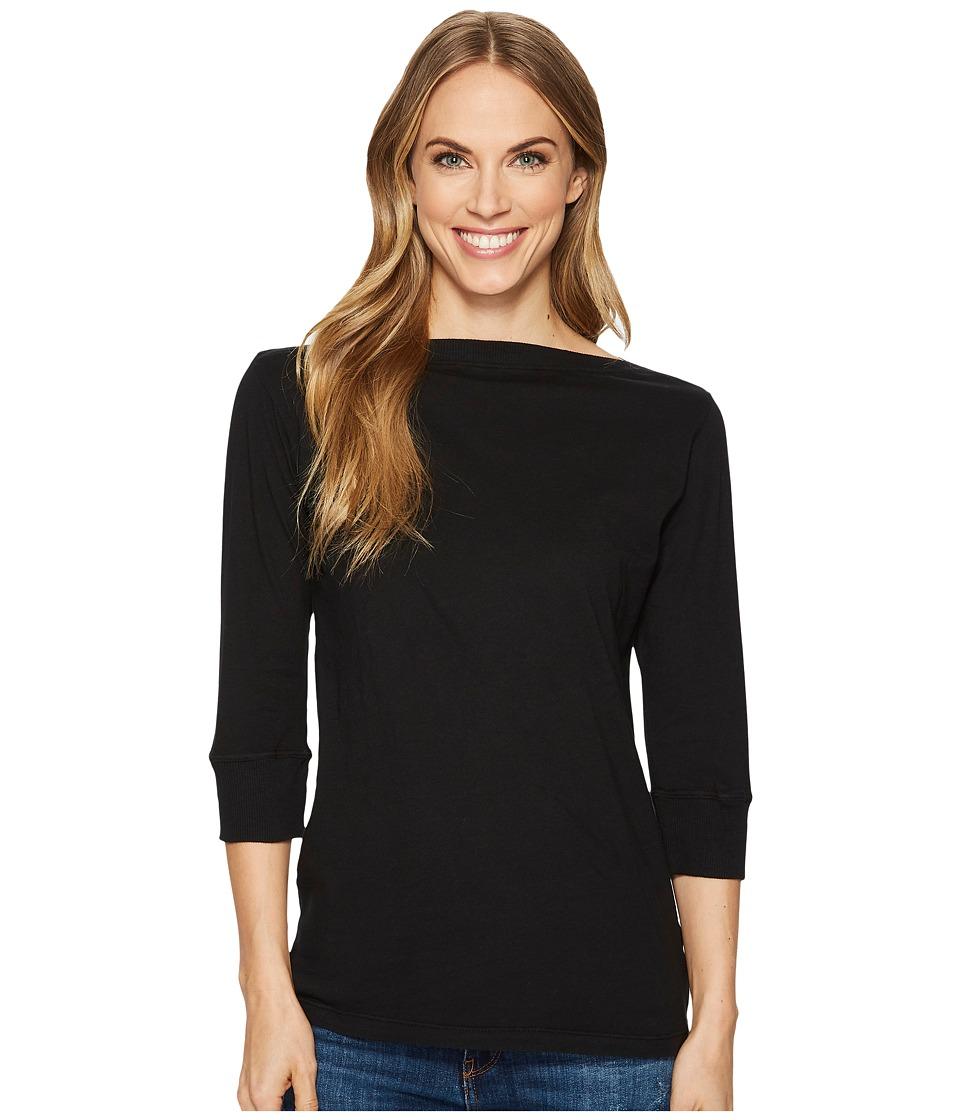 Image of Allen Allen - 3/4 Sleeve Boat Neck (Black) Women's Clothing