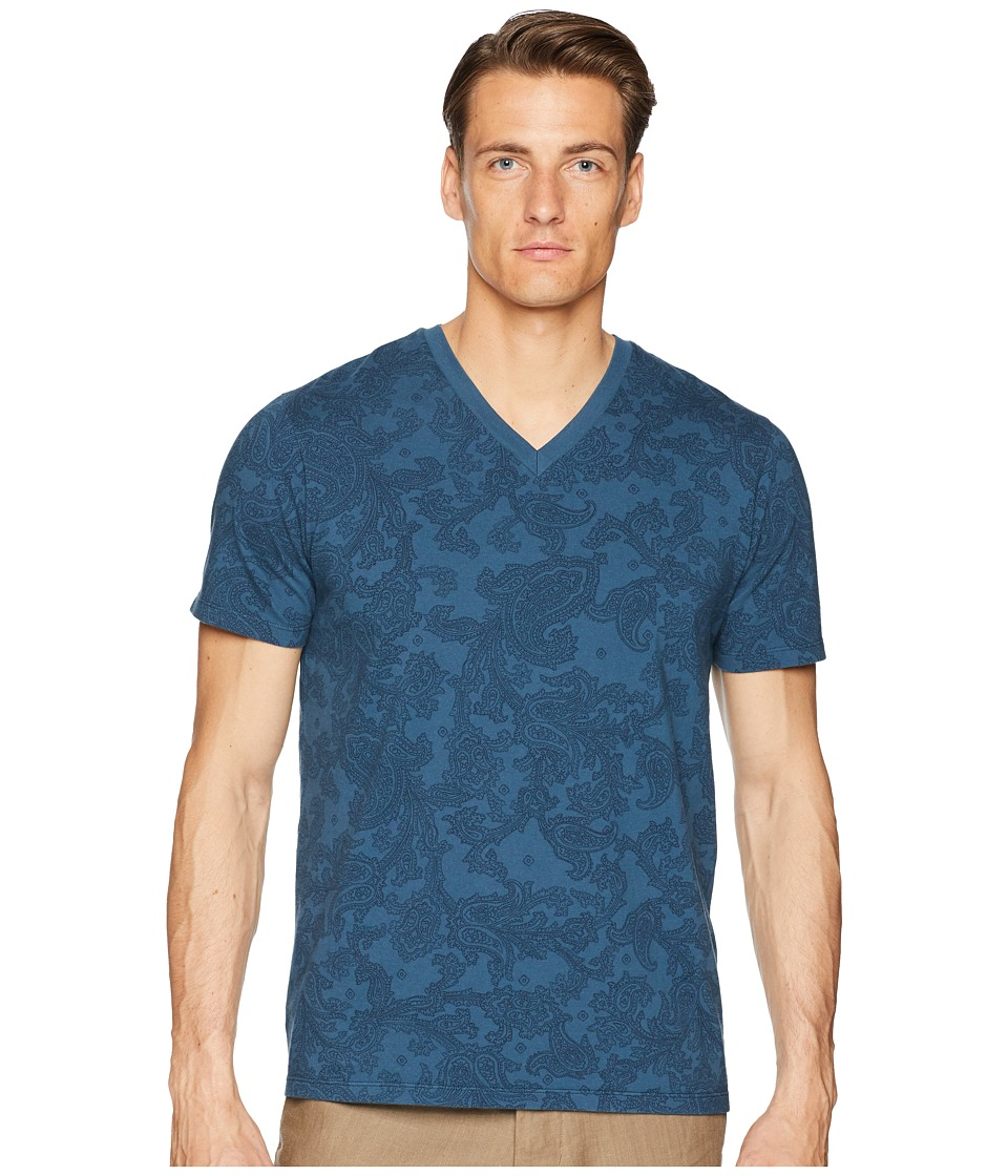 Etro Faded Paisley V-Neck T-Shirt (Navy) Men's T Shirt