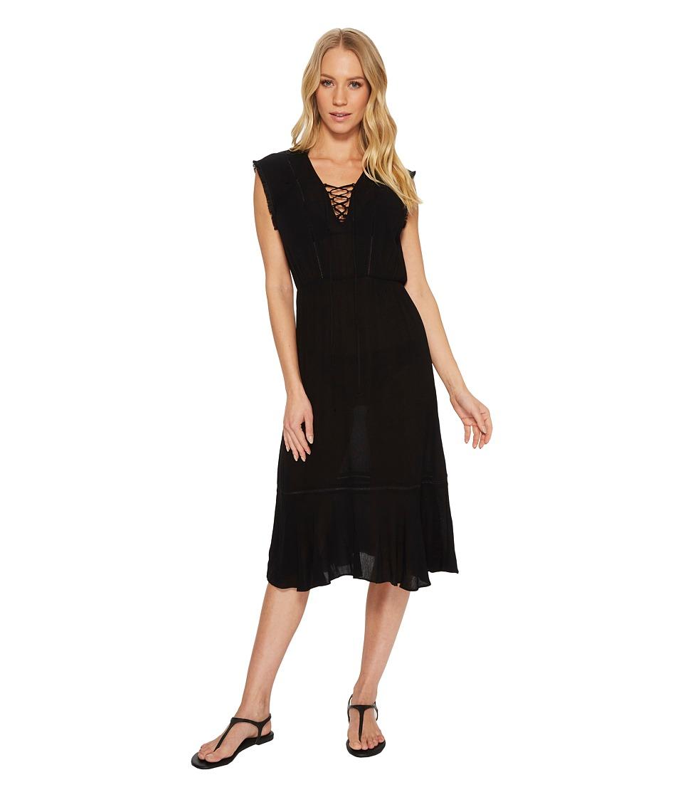 Splendid Tie Front Dress Cover-Up (Black)