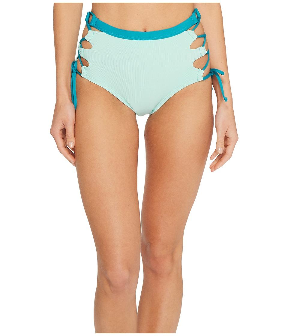 Splendid Color Block High-Waist Bikini Bottom (Aqua)
