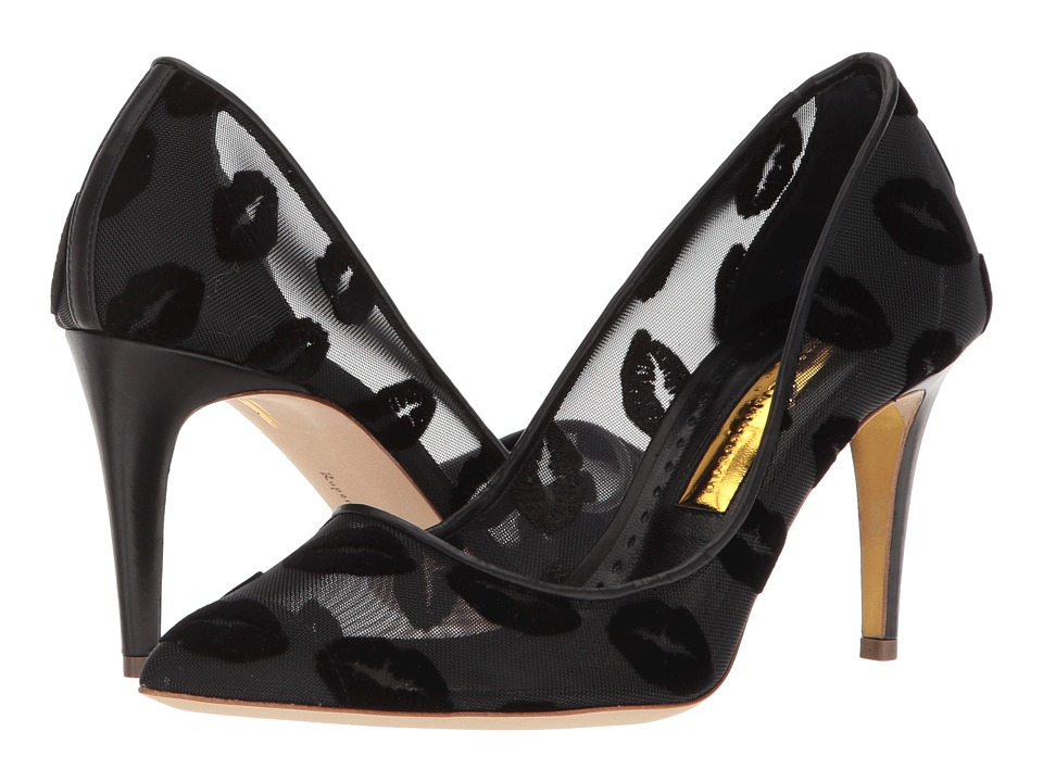 Rupert Sanderson - Spice (Black Mesh/Black Flocking Pump) Womens Shoes