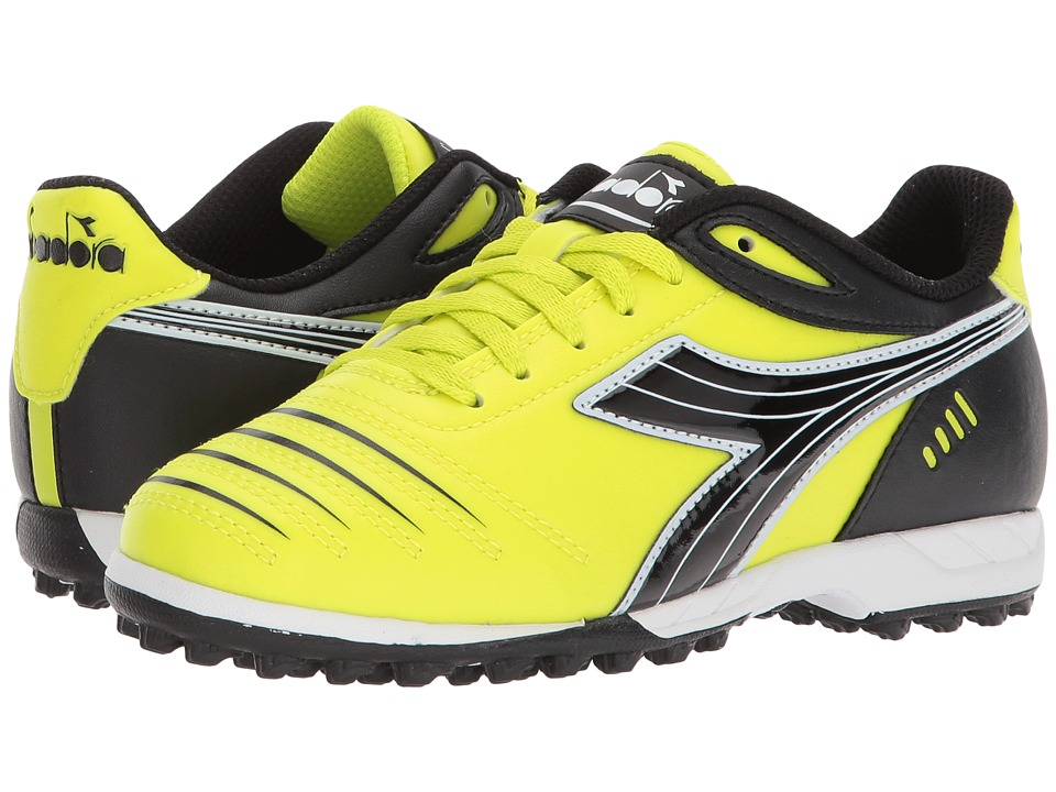 Diadora Kids - Cattura TF JR Soccer (Little Kid/Big Kid) (Yellow Fluo/DD Black) Kids Shoes