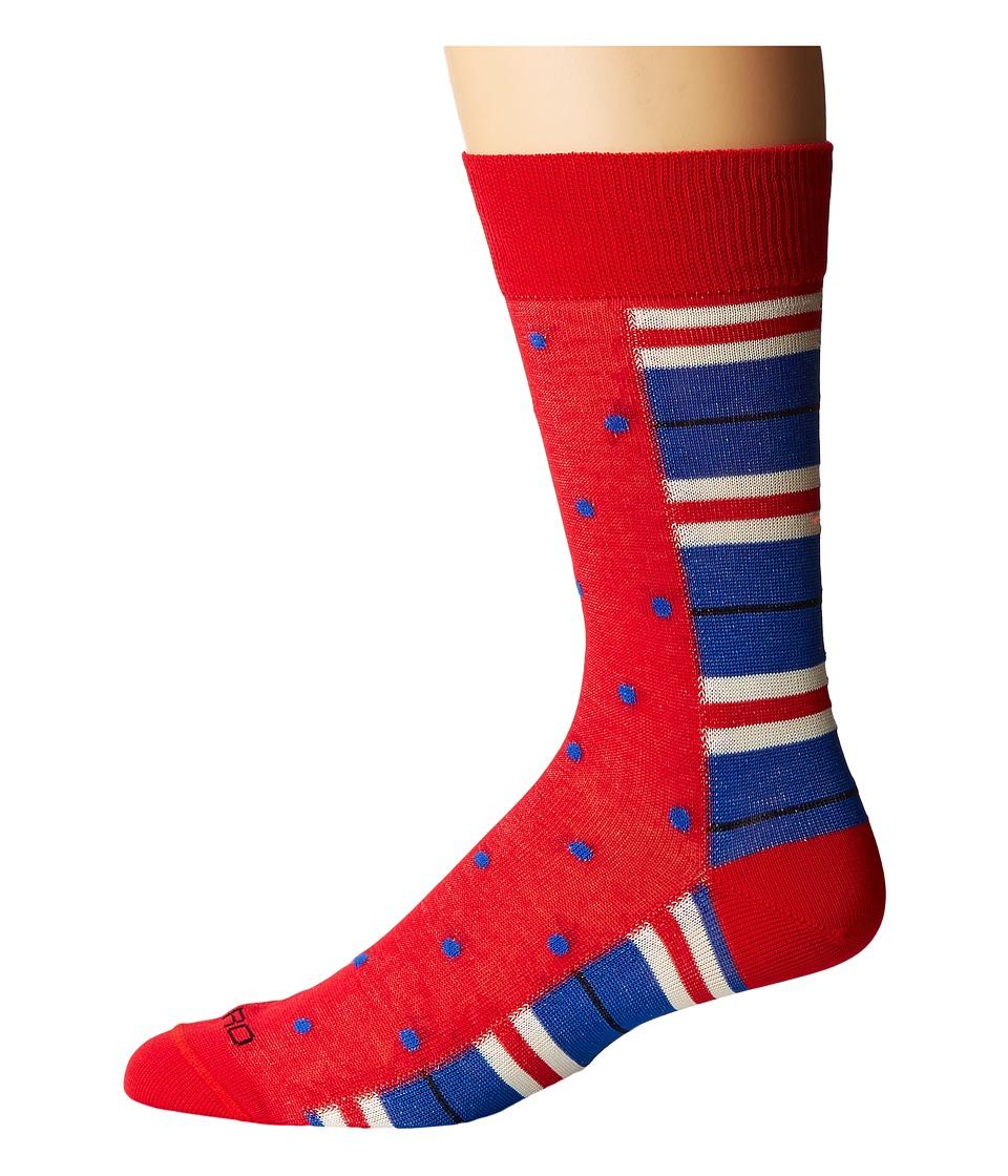 Etro - Stripe and Polka Dot Socks (Red) Mens Crew Cut Socks Shoes