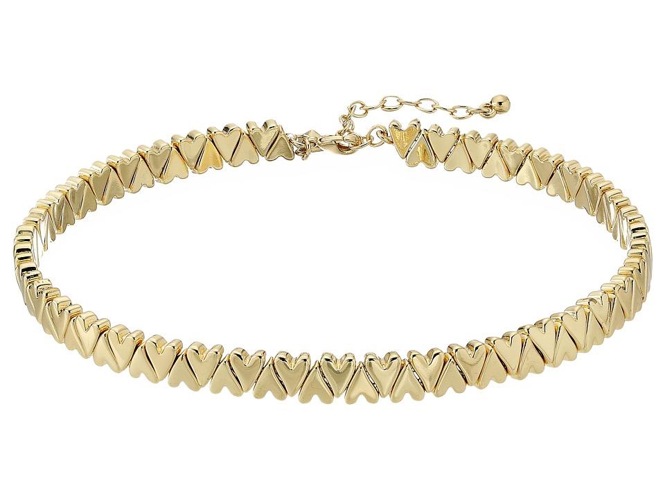 Rebecca Minkoff - Heart Stretch Choker (Gold) Necklace